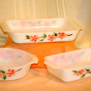 Gay Fad Peach Blossom Baking Set Fire King Three Piece Set