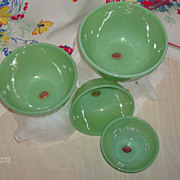 SOLD Jadeite by Fire King Four Piece Swirl Nesting Bowls