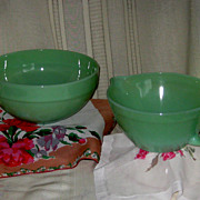 Jadeite by Fire King Colonial Rim Mixing Bowl and Batter Bowl