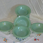 SOLD Jadeite Fire King Restaurant Flanged Cereal Bowls Set of Six