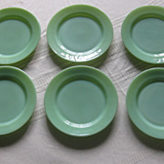 SOLD Jadeite by Fire King Nine Inch Dinner Plates Restaurant Ware Style