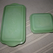 Jadeite by Fire King Philbe Pattern Loaf Pan and Refrigerator Dish with Lids