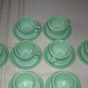 Jadeite by Fire King Eight Cup and Saucer Set Restaurant Style