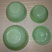 Jadeite by Fire King Four Piece Swirl Nesting Bowls Set of Four