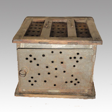 18th Century Primitive Tin Foot warmer / Foot stove - Rare form