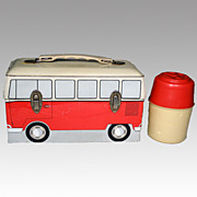Vintage Rare VW Bus Dome Lunch Box w/ Original Thermos - 1960