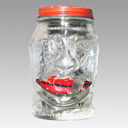 1930's Lucky Joe Bank (Joe Louis) Glass Mustard Jar
