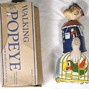 Marx Walking Popeye With Parrot Cages Windup Toy w/ Rare Box 1932