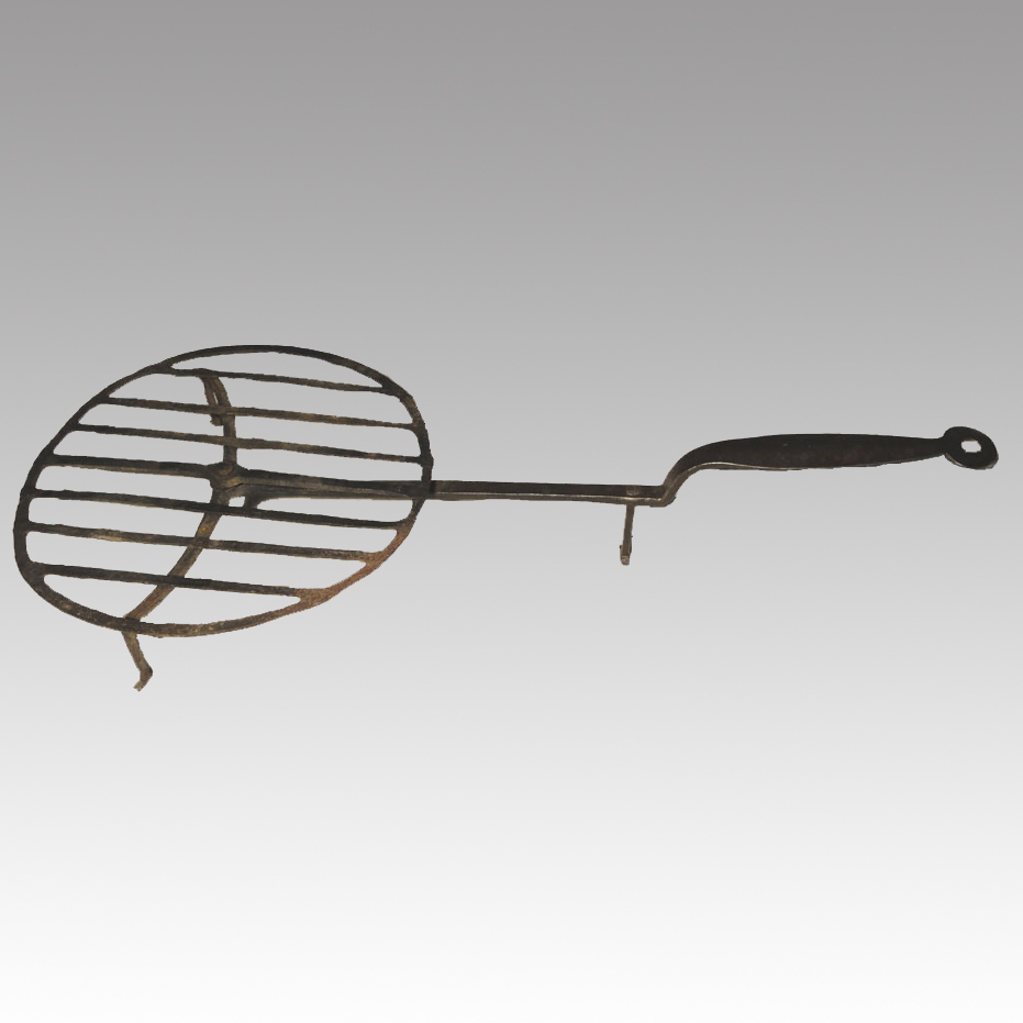 18th Century Primitive Wrought Iron Whirling Gridiron Broiler Hearth Cooking Implement