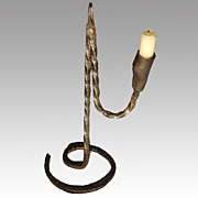 18th Century Primitive Wrought Iron Rushlight Candlestick
