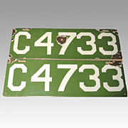 SALE 1912 Green Porcelain Connecticut License Plates