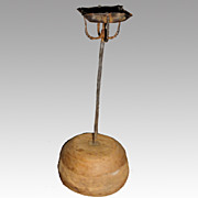 17th Century Primitive 4 Wick Grease Crusie Lamp on Wooden Base