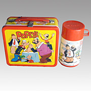 "Vintage Popeye ""Arm Wrestling"" Lunch Box 1980 w/ Thermos - NM Condition"
