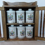 SALE Vintage - Medicine Cabinet with Six Medicinal Jars