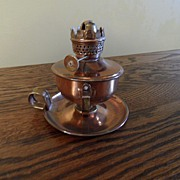 SALE Vintage - Copper Oil Lamp - British Hong Kong