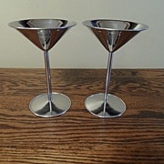 SALE Vintage - Stainless Steel - Martini Goblets