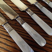 SALE Vintage - JR Mercer - Landers, Frary & Clark - Pearl Handled Dinner Knives - 6