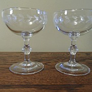 SALE Vintage - Etched Glass - Martini or Sherbet Glasses