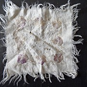 SALE Silk  - Hand Embroidered - Handkerchief