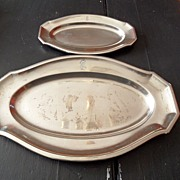 SALE Vintage - 1914 Leibstandarte Adolf Hitler Wellner Silver Plate Trays (2)