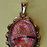 SALE Vintage - Pendant - Pink Glass