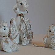 Vintage - Poodles on Silver Chains - National Potteries Company