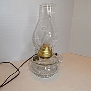 SALE Vintage - Oil Lamp - Electrified - Glass