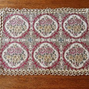 SALE Vintage - Tapestry Table Mat - Gold Lace Edge