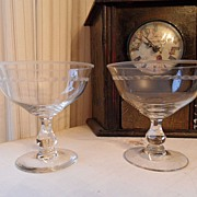SALE Vintage - Set of Two Sherbet or Margarita Glasses - Etched