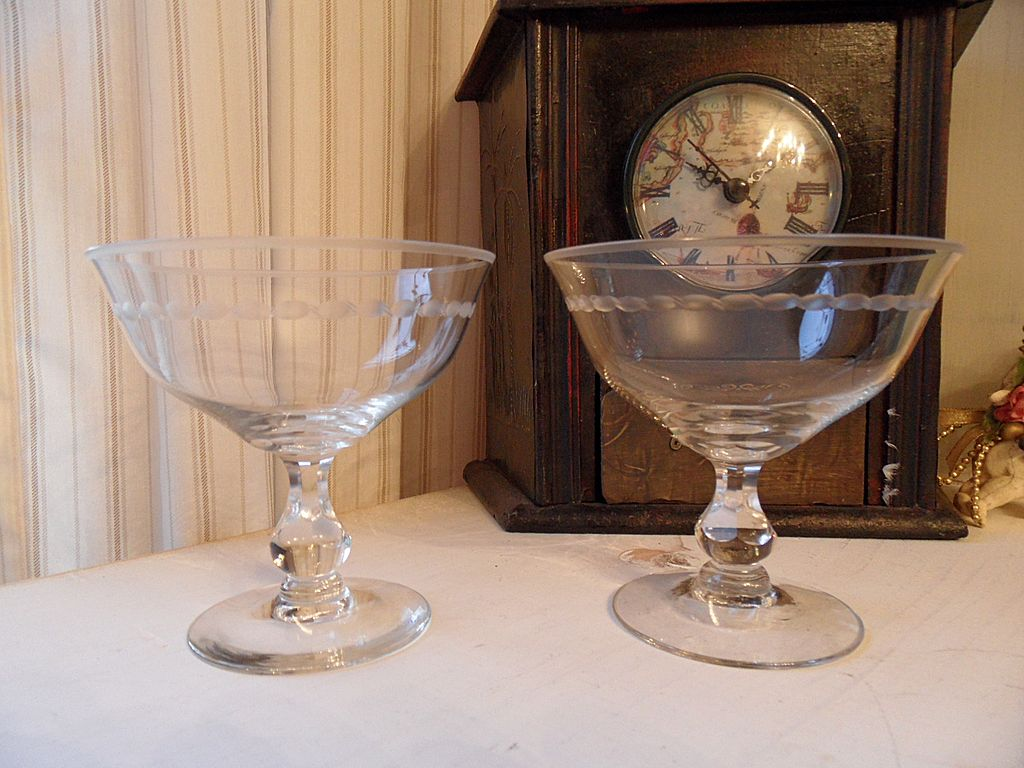 Vintage - Set of Two Sherbet or Margarita Glasses - Etched