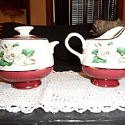 "Vintage - Homer Laughlin - ""Burgundy"" - Creamer & Sugar"