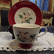 "Vintage - Homer Laughlin - ""Burgundy"" - Cup and Saucer"
