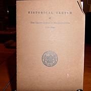 "SALE Vintage - ""Historical Sketch"" of the Grand Lodge of Massachusetts 1733 - 1968"