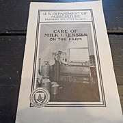 "SALE Vintage - ""Care of Milk Utensils on the Farm"", 1931"