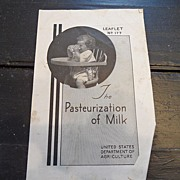 "SALE Vintage - ""The Pasteurization of Milk"", US Dept of Agriculture, 1939"