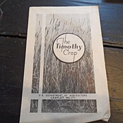 "SALE Vintage - ""The Timothy Crop"", US Dept of Agriculture, 1939"