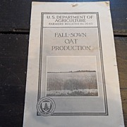 "SALE Vintage - ""Fall-Sown Oat Production"", US Dept of Agriculture, 1940"