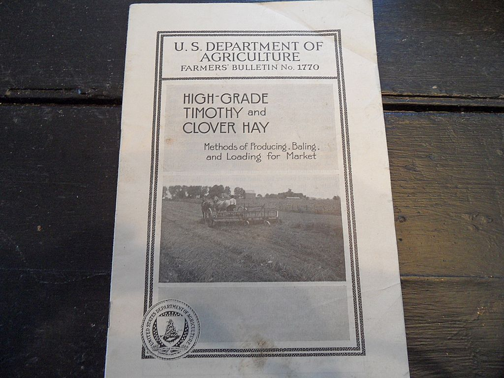 "Vintage - ""High-Grade Timothy and Clover Hay"", US Dept of Agriculture, 1937"