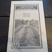 "SALE Vintage - ""Sudan Grass"", US Dept of Agriculture, 1941"