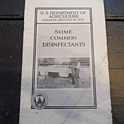 "SALE Vintage - ""Some Common Disinfectants"", US Dept of Agriculture, 1937"
