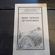"SALE Vintage - ""Home Storage of Vegetables"", US Dept of Agriculture, 1942"