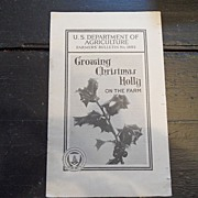 "SALE Vintage - ""Growing Christmas Holly on the Farm"", US Dept of Agriculture, 1940"
