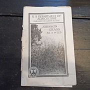 "SALE Vintage - ""Johnson Grass as a Weed"", US Dept of Agriculture, 1940"
