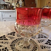 SALE Vintage - Kings Crown Ruby Flashed  - Wine Glass