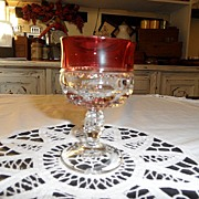 Vintage - Kings Crown Ruby Flashed  - Wine Glass