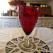 SALE Vintage - Kings Crown Ruby Flashed  - Water Goblet