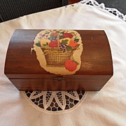 SOLD Vintage - Wooden Recipe Box with Applique