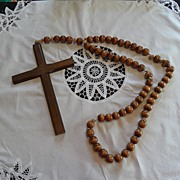 SALE Vintage - HUGE Rosary Beads - Wood