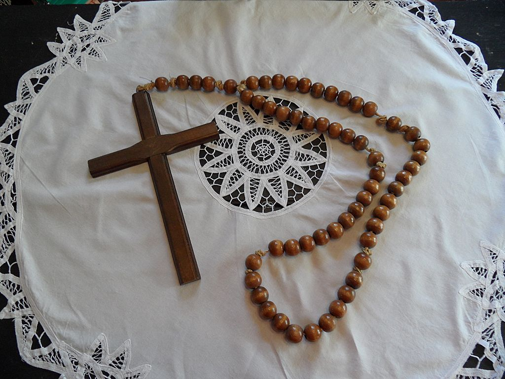 Vintage - HUGE Rosary Beads - Wood