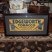 SALE Vintage - 1935 Framed Cloth Lithograph - Edgewood Tobacco